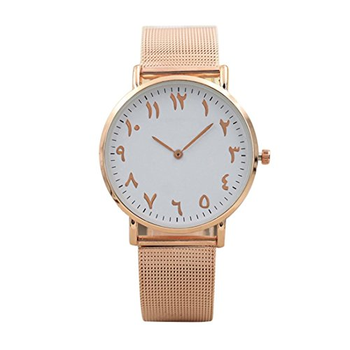 Jaylove Clearance Sale Men's And Women's Fashion Classic Arabic Numerals Wristwatch Quartz Stainless Steel Watches (Rose Gold)