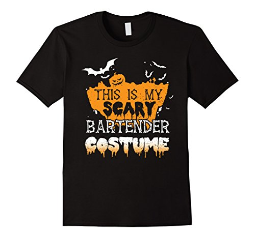 [Mens This Is My Scary Bartender Costume T-Shirt Large Black] (Bartender Costume Male)