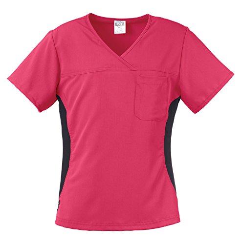 Medline Healthcare 5564PNKL Michigan AVE. Women's Yoga Stretch Scrub Top, Large, (Michigan Scrub)