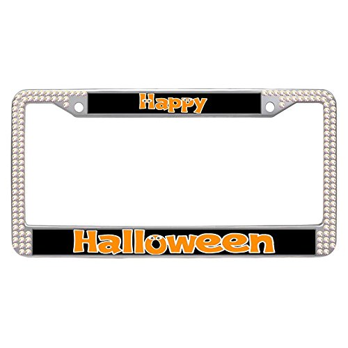 Hensonata Colorful Glitter Diamond Car Tag Frame, Happy Halloween Unique Shining Stainless Steel Rhinestones License Plate Frames for Cars with Anti-Theft Screws Caps -