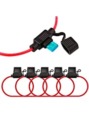FULARR 5Pcs Premium ACS Small in-Line Waterproof Blade Fuse Holder with 16 AWG Wire Harness, Free 15Pcs Mini Blade Fuses + 1Pcs Fuse Extractor + 5Pcs Wire Ties –– 12V / 24V