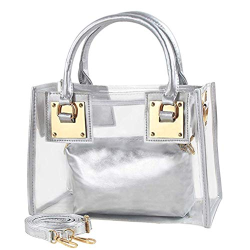 Clear Satchel Handbag - Cooba Small Clear Tote Beach Ladies Cross Body Bag Women's Satchel Transparent Messenger Shoulder Handbag Clear Jelly Purse with Small Card Bag (Silver)
