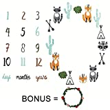 Baby Monthly Milestone Blanket Photo Prop For Boys And Girls Newborn Background Blanket Infant Pictures Baby Shower Gift For New Mom Bonus Floral Wreath