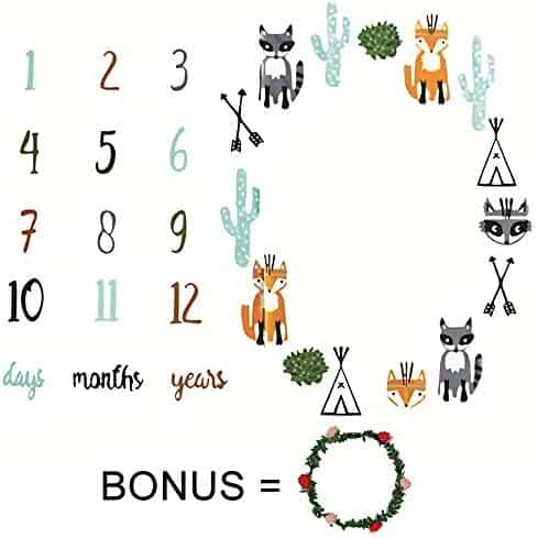 Baby Monthly Milestone Blanket Photo Prop for Boys and Girls Newborn Background Blanket Infant Pictures Baby Shower Gift for New Mom Bonus Floral Wreath (Blanket)