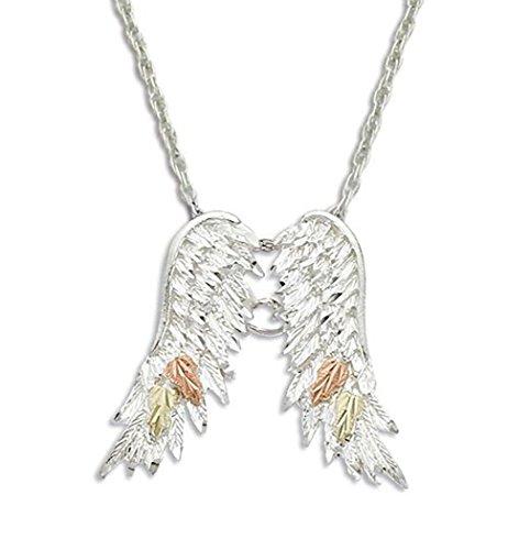 Landstroms Black Hills Silver Angel Wings Necklace, 12K Gold - Hills Pendant Gold Black Angel