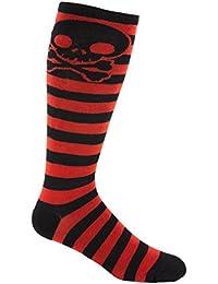 Skater Skull Knee-High Striped Deadlift Socks