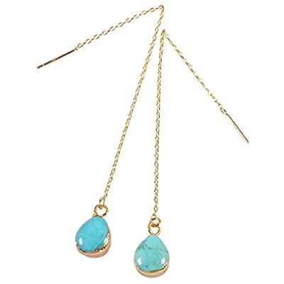 "Nice ZENGORI 1 Pair Gold Silver Plated Teardrop Natural Turquoise Ear Threader Drop Dangle Earrings 3.5"" for sale 9JU6WeSu"