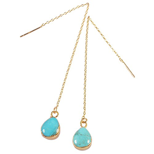 Turquoise Tear (ZENGORI 1 Pair Gold Plated Teardrop Natural Turquoise Ear Threader Drop Dangle Earrings 3.5