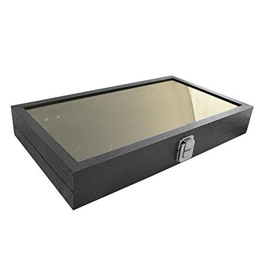 Black Leather Wrapped Display Case Tray Organizer 14 3 4 x 8 1 4 x 2 1 8