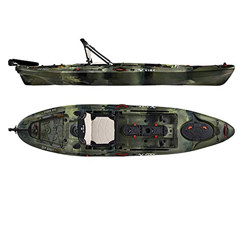 Vibe Kayaks Sea Ghost 110 11 Foot Angler Sit On Top Fishing Kayak with Adjustable Hero Comfort Seat (Hunter Camo)