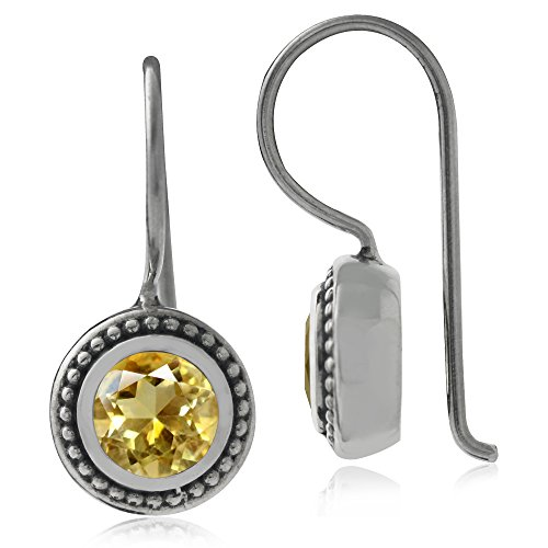 Natural Citrine 925 Sterling Silver Balinese Hook Earrings