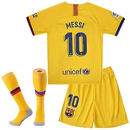 BADAWO 2019-2020 Barcelona #10 Messi T Shirt Home Kids Youth Soccer Jersey Shorts Socks Red//Blue