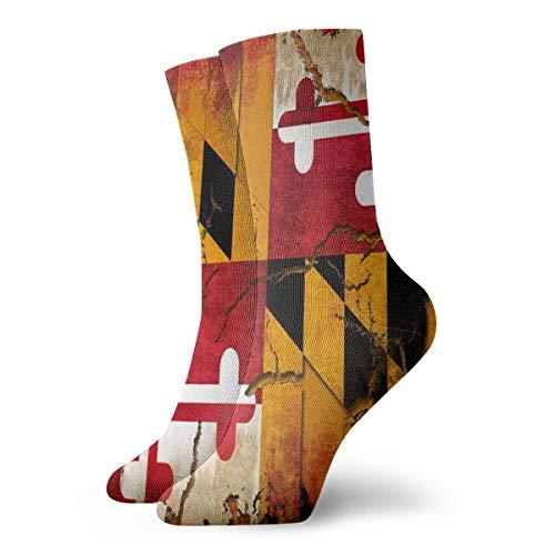 Men Women Winter Warm Socks Vintage Wooden Maryland Flag Athletic Socks Football Cushioned Crew Socks Moisture Wicking Stocking Compression Socks Christmas Gift For Boys Girls