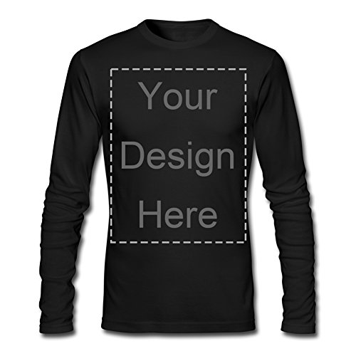 Personalize Image or Text Print Tee Custom Men's Black Long Sleeve Shirts