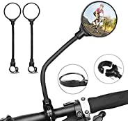 2 Pcs Bike Mirror, Bicycle Cycling Rear View Mirrors, Adjustable Wide Angle Rotatable Handlebar Mounted Convex