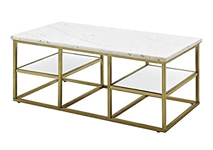 Marble Top Brass Coffee Table.Coaster Home Accents Modern White Brushed Brass Marble Top Coffee Table With Brass Frame