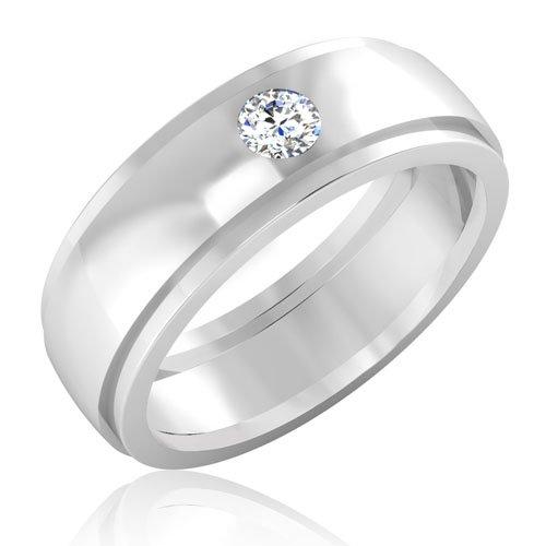 0,21 Ct redonda natural diamond anillos de boda para hombre sólido 14 K oro