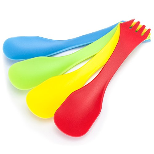 Pack of 4 Tritan Camping Sporks, Multi-color and Lightweight by Grizzly Peak