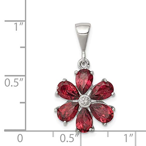 925 Sterling Silver Red Garnet Diamond Flower Pendant Charm Necklace Gemstone Fine Jewelry Gifts For Women For Her