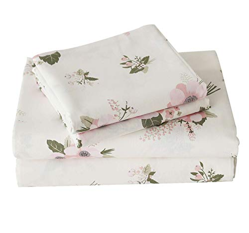 (Artmarry House 100% Cotton Sheets-Genuine 600-Thread-Count,Queen Pink Flower Floral Pattern 4 Pc Sheets Set,Super Soft and Smooth,Sateen Weave,Fits Mattress Upto 18 inches Deep Pocket)
