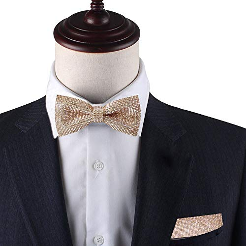 Tie Squares (Rose gold pre-tied bow tie & Pocket Square set, Rose gold rhinestones bow tie set for men, Dream Up Idea, 100% Handmade)
