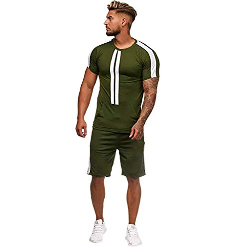 (iHHAPY Mens Tops and Shorts Summer Leisure Stripe Short Sleeve Shorts Set Color Collision Casual Sports Thin Sets)