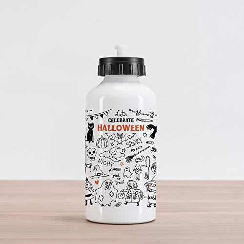 Lunarable Halloween Aluminum Water Bottle, Lets Celebrate Halloween Quoted Skeleton Cat Owl Night Drawings Bat, Aluminum Insulated Spill-Proof Travel Sports Water Bottle, Black White Burnt Orange
