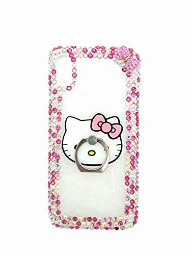 iPhone 7 Plus Case,iPhone 7 Plus Rhinestone Case,Luxurious Shiny Crystal Gemstone Bling Glitter Diamond Cartoon Cat Kickstand Ring Support Case With Flowers Lanyard For iPhone 7 Plus 5.5 inch