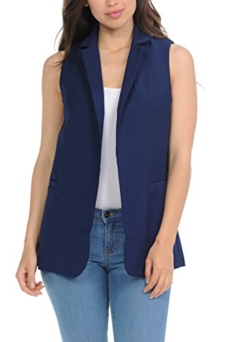 Auliné Collection Womens Work Casual Open Front Notched Lapel Collar Blazer Vest - Navy Blue Small (Notched Collar Vest)