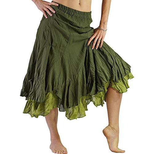 Cotton Cut Bias Skirt (zootzu 'Two Layer' Gypsy Renaissance Skirt, Pirate, Steampunk - Greens)