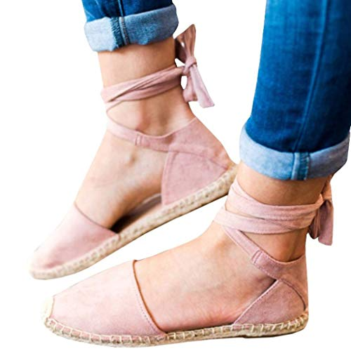 Sandals THENLIAN Womens Flat Lace-Up Espadrilles Summer Chunky Holiday Sandals Shoes Strap Shoes(43, Pink)