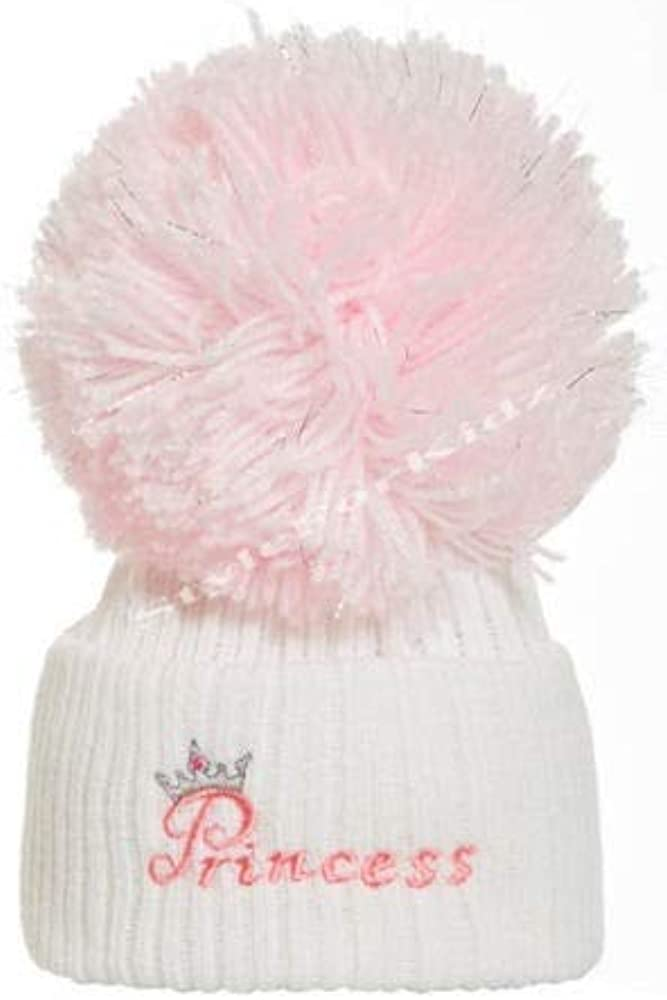 British Made Baby Girl Full Pink White//Pink Princess Silver Pom Cute Decorative Frilly Knitted Pom Pom Newborn Baby Hats