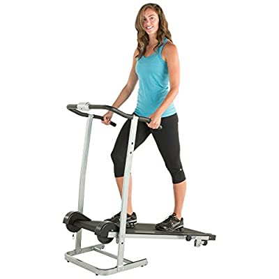 Manual Portable Treadmill for Home with Twin Flywheels LCD Display Shows Elapsed Time, Distance Walked, Calories Burned, Speed, and Scan Cardio Fitness Gear