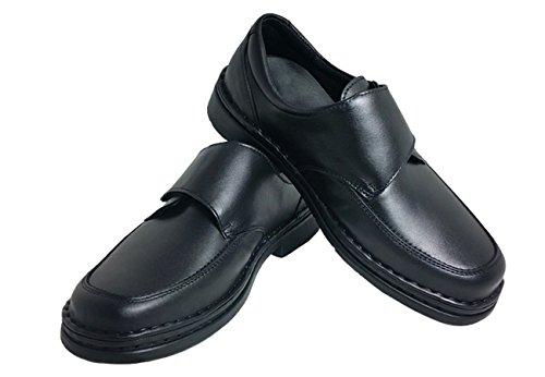 Cari Falcó Zapato Hombre EN Piel de Anchos Especiales Para Plantillas EN Color Negro Cierre EN Velcro Muy Cómodo Ideal Para Trabajar Muchas Horas EN Tallas Especiales 39/40/41/42/43/44/45/46