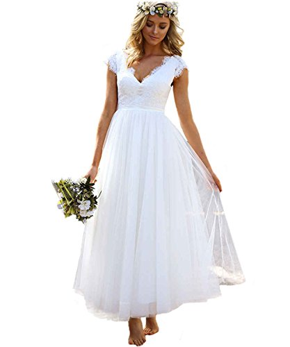 LastBridal Women Lace Cap Sleeves Bridal Gowns Tea Length Short Beach Wedding Dresses for Bride WD0034 US 20W White