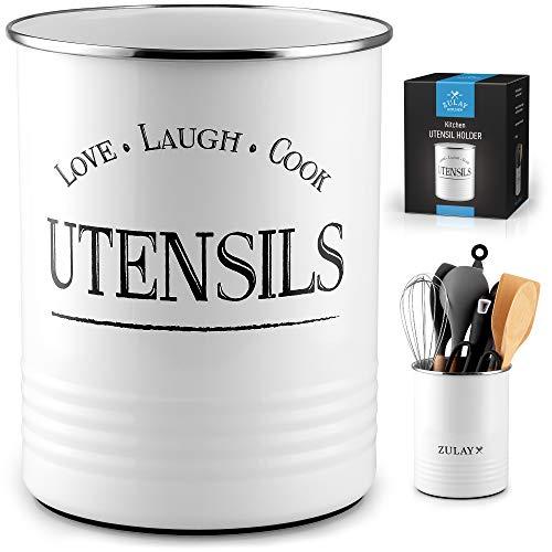 Zulay Large Utensil Crock Storage Organizer – Kitchen Utensil Holder For Countertop With Padded Base – Large Utensil…