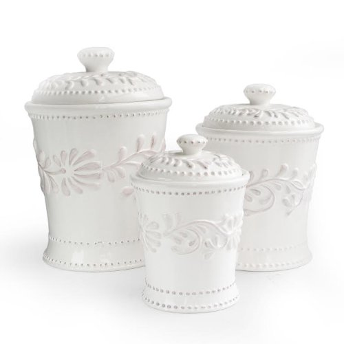 American Atelier Bianca Leaf 3-Piece Canister Set by American Atelier
