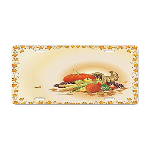 Kingsinoutdoor Harvest,Maple Tree Frame with Rustic Composition for Thanksgiving Halloween Dinner Food,Multicolor Customized License Plates Aluminum Vanity Car Tag 6X12 -