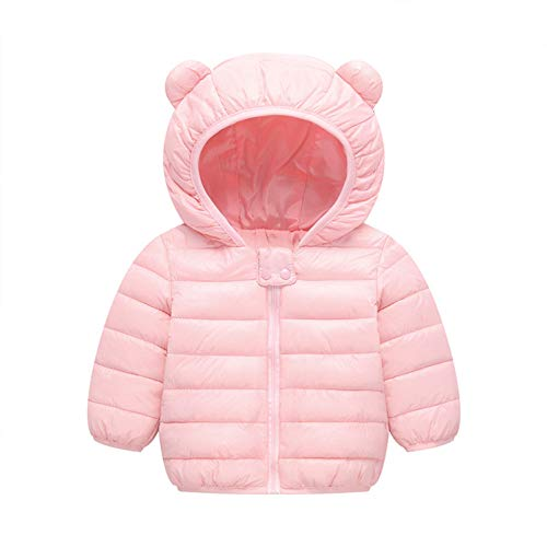 BSC007 Baby Boys Girls Winter Coats Hoods Light Puffer Down Jacket Outwear Pink