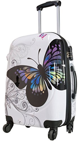 ef1a8868e8 Bowatex Butterfly Valise rigide Motif : papillons Taille L Blanc