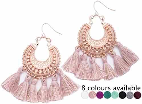 c3819871e Rose Gold Tassel Earrings: Pink fringe gifts for women. Fashion drop dangle  tassle earing