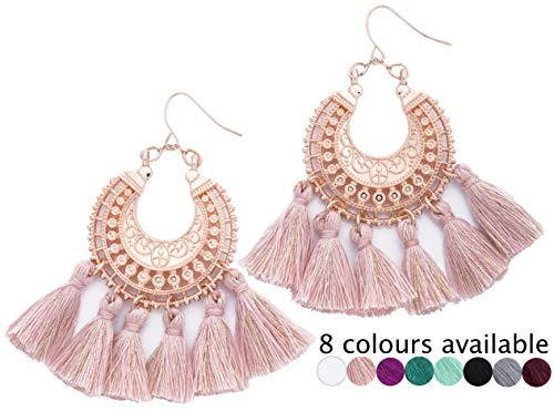 Rose Gold Tassel Earrings: Pink fringe gifts for women. Fashion drop dangle tassle earing by BLUSH & CO. (Blush) -