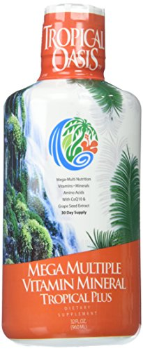 Tropical Oasis Mega Plus - Liquid Multivitamin and Mineral Supplement – Includes 85 Vitamins & Minerals, 20 Amino Acids + CoQ10, Grape Seed Extract & Organic Aloe Vera - 32oz, 32 Servings