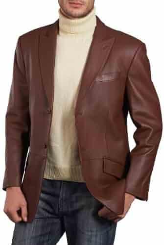 6452242e34b2 BGSD Men s Noah Peaked-Lapel Lambskin Leather Blazer (Regular   Tall)