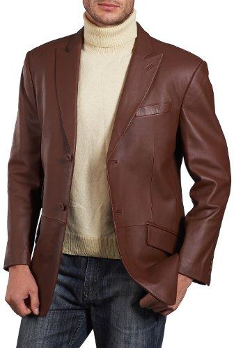 BGSD Men's Noah 2-Button Lambskin Leather Blazer,Hazelnut,Large