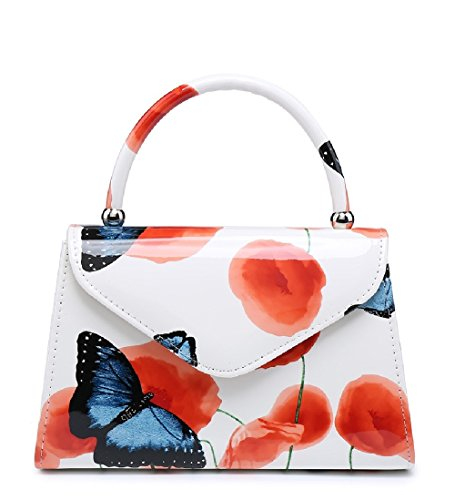 Ladies Patent Floral Top Handle Clutch Bag - Summer Women's Poppy Butterfly Handbag MA34871-1 White