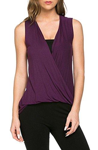 Azules Women's Deep Criss Cross Sleeveless Shirt (Large, -