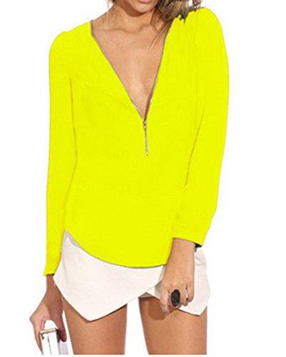 QIYUN.Z Mujer Atractivas Del Color Solido De La Gasa Floja Blusa Manga Larga Con Cremallera Con Cuello En V Amarillo