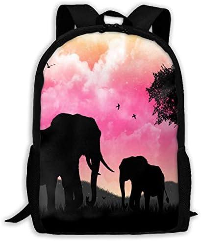 NA Rucksack mit Elefanten-Motiv, Reißverschluss, für Schule, Büchertasche, Tagesrucksack, Reisetasche, Turnbeutel, für Herren und Damen