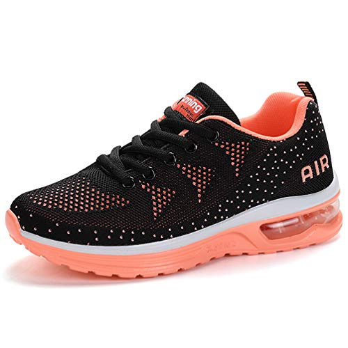 RUMPRA Women Sneakers Lightweight Air Cushion Gym Fashion Shoes Breathable Walking Running Athletic Sport(Orange,37)